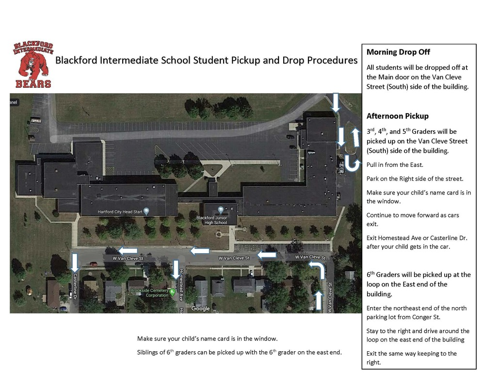 Blackford Intermediate School shares student pick-up and drop-off procedures