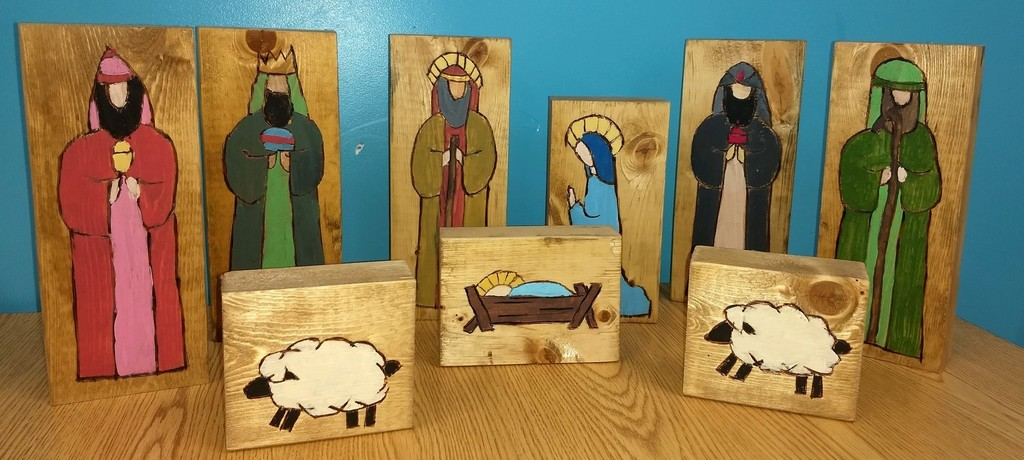 Painted nativity set