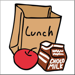 Lunch bag, apple, and milk