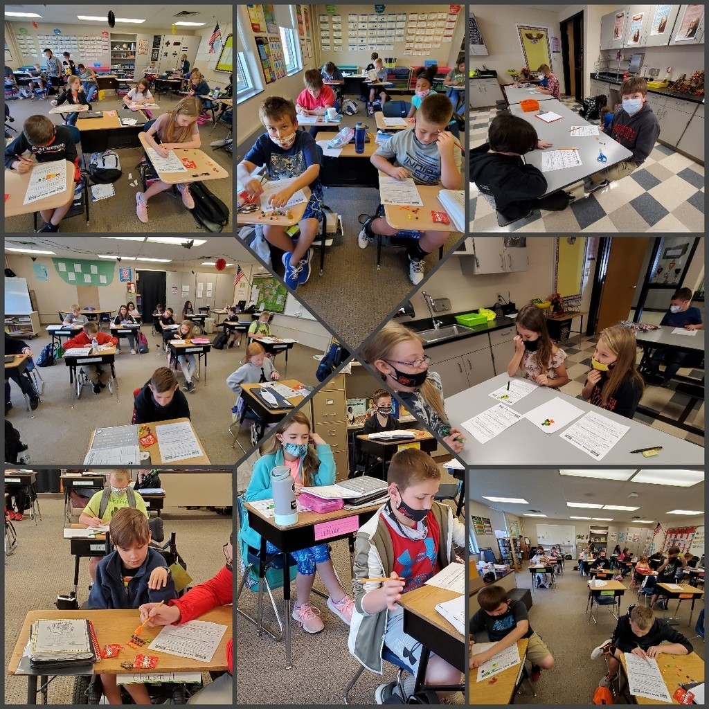 Collage of students working on a math lesson
