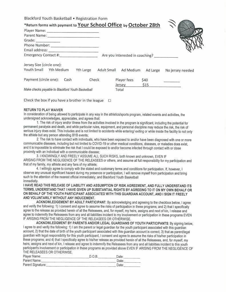 Youth basketball form