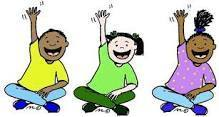 3 cartoon students with hands raised