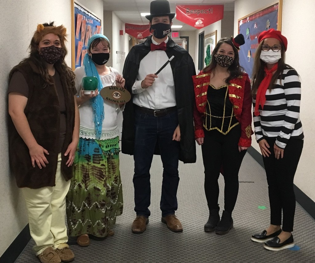 Montpelier staff dressed up like circus performers