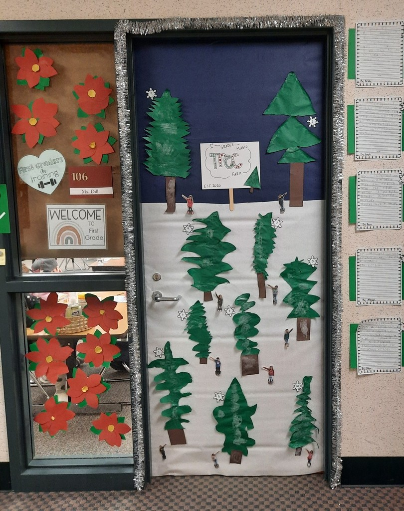 Christmas tree themed doorway