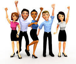 Illustration of a group of people with arms raised
