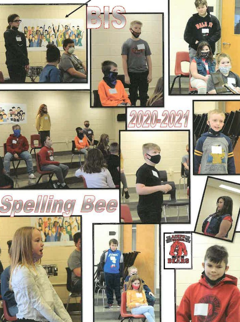 Collage of students participating in the BIS spelling bee