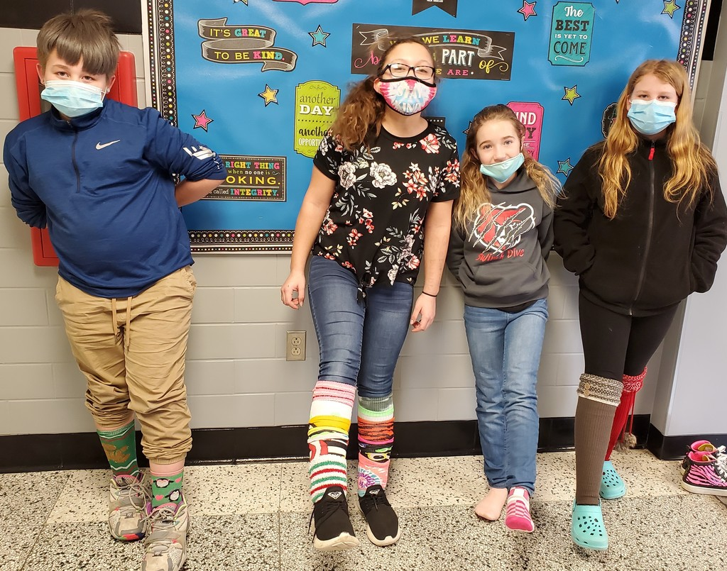 Students display their funky socks for Spirit Week