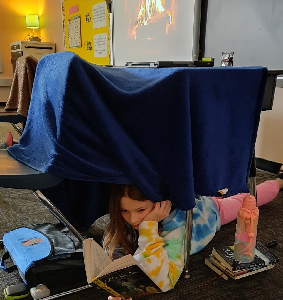 Girl reads in her tent