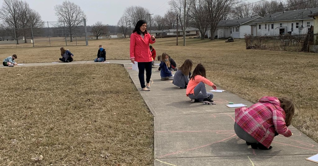 Mrs. Cristi Aulbach directs outdoor math lessons to her students
