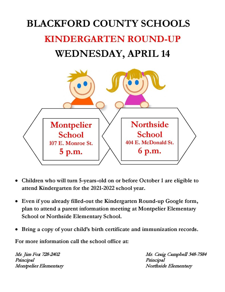 Kindergarten Roundup flyer