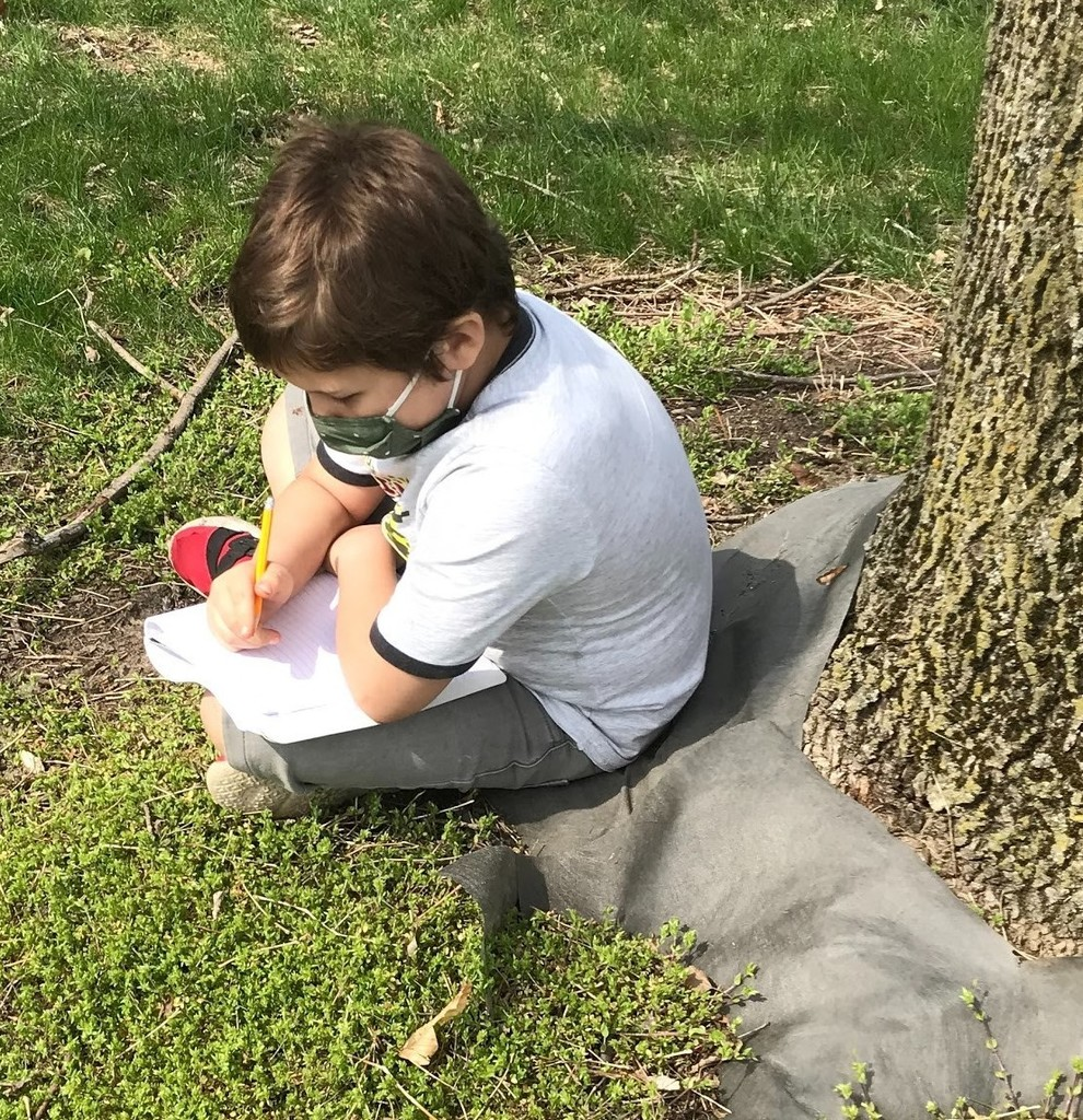 3rd grade boy works on assignment in front of a tree