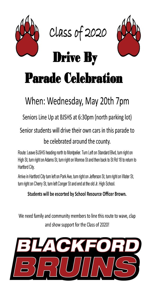 Flyer announcing Class of 2020 Celebration Parade