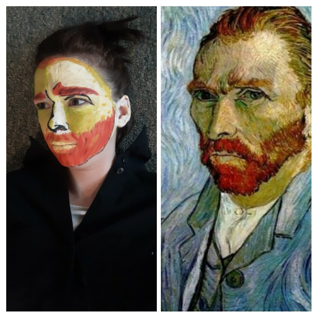 Young girl made up as VanGogh
