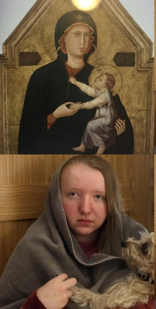 Young girl made up as classic painting