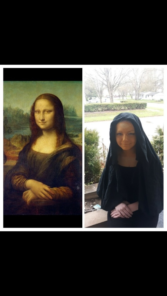 Student dressed up as Mona Lisa