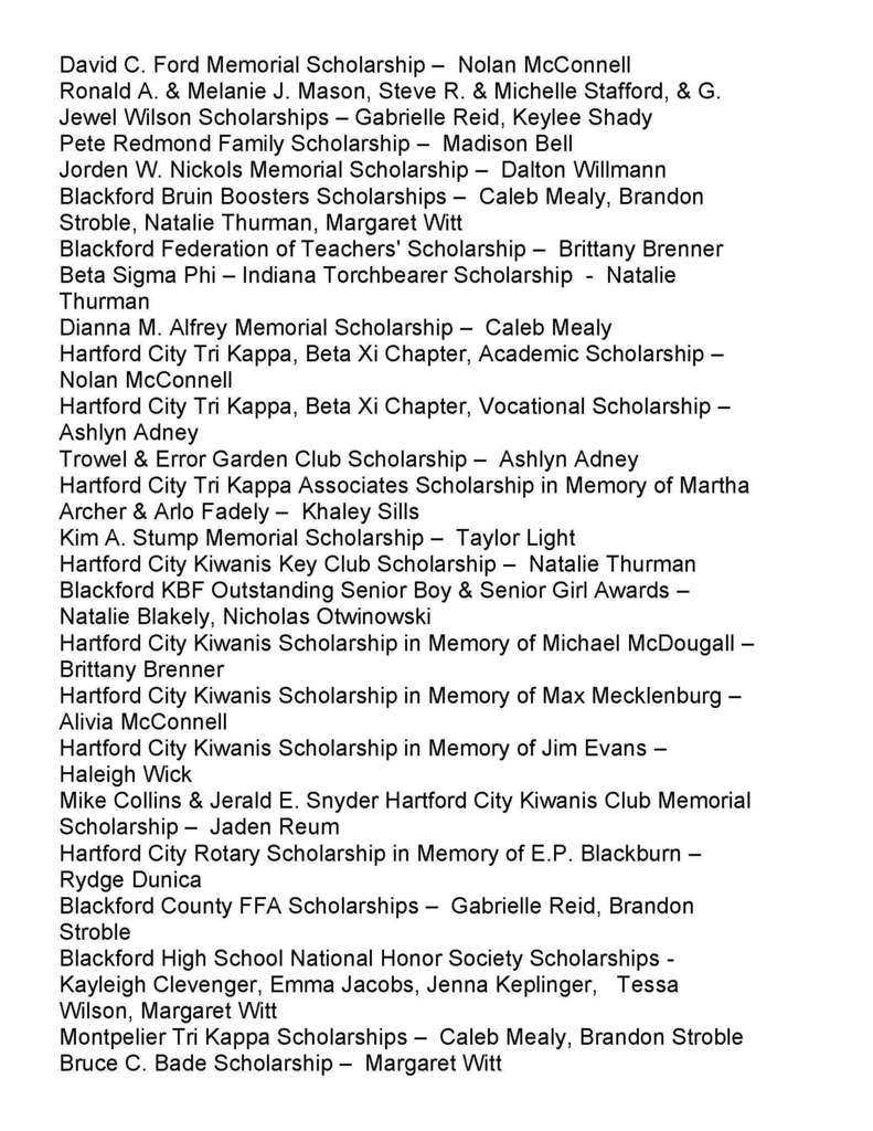 Senior scholarship names
