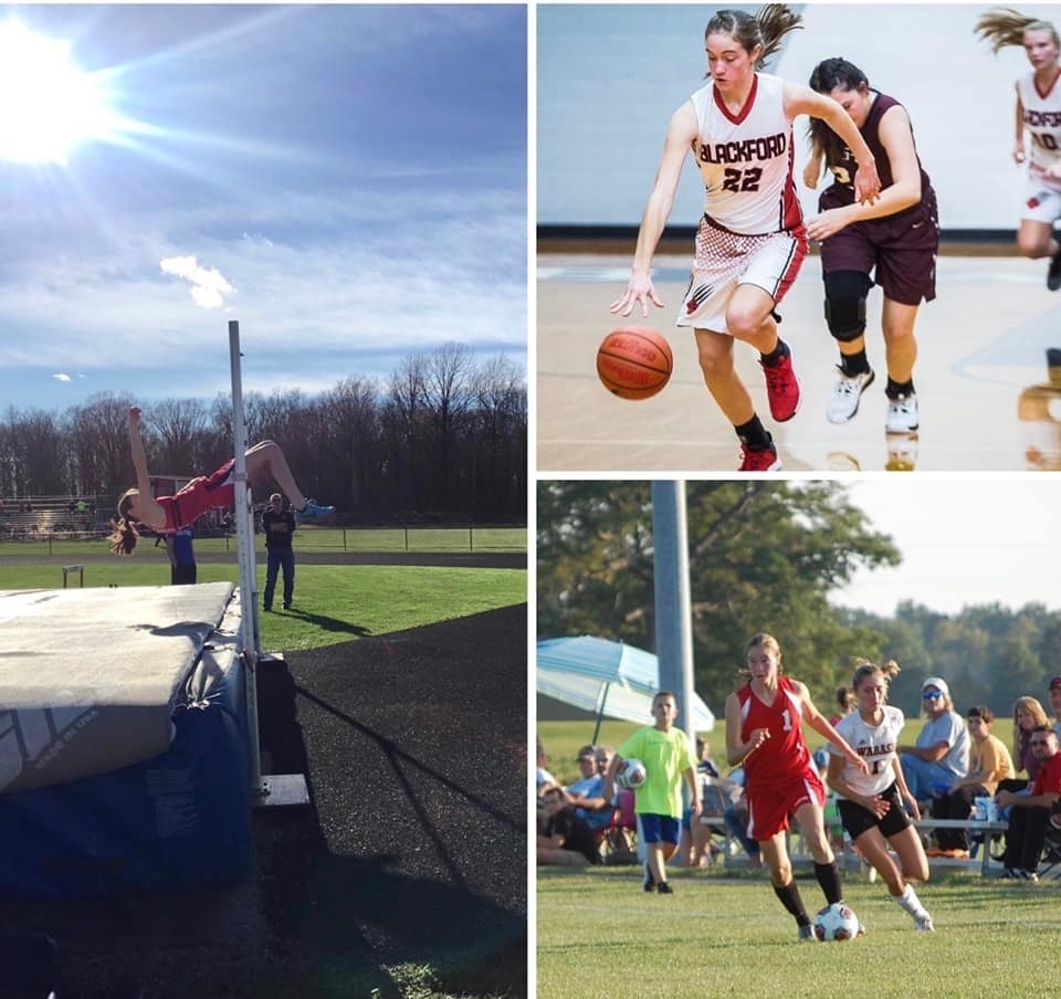 Jaycie Sones playing soccer, track, and basketball