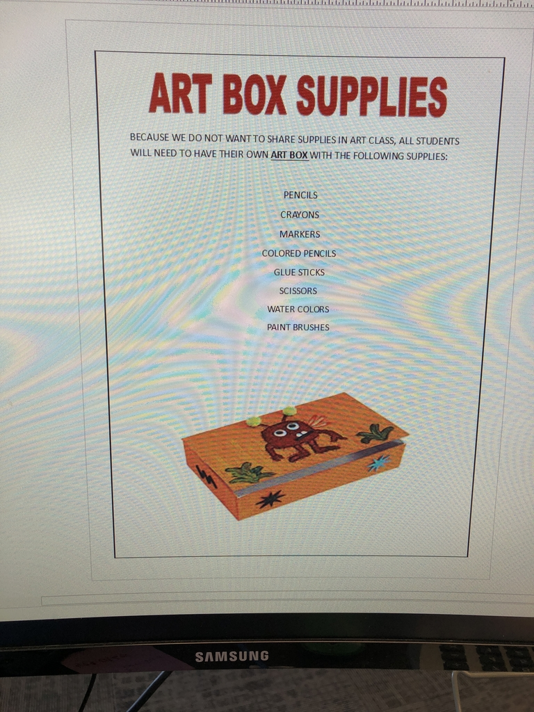 Art supplies for BIS
