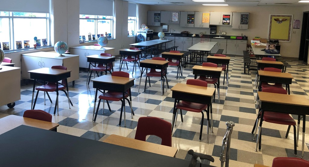Empty science classroom