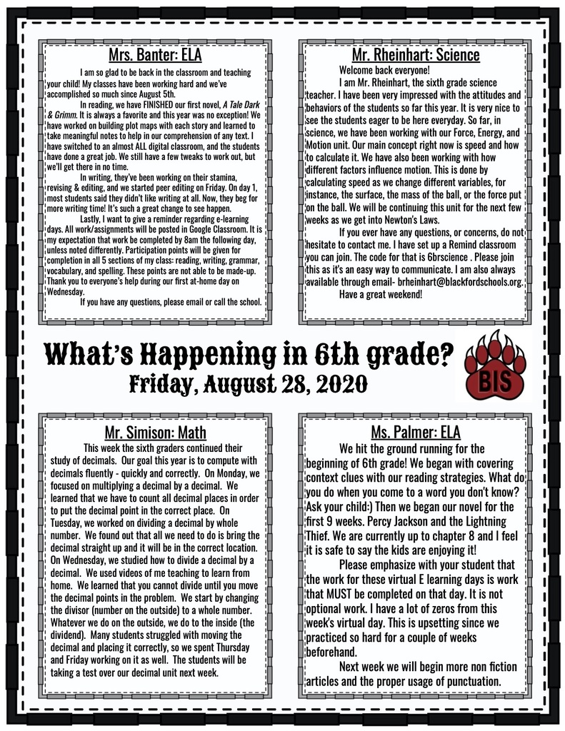 6th grade newsletter!