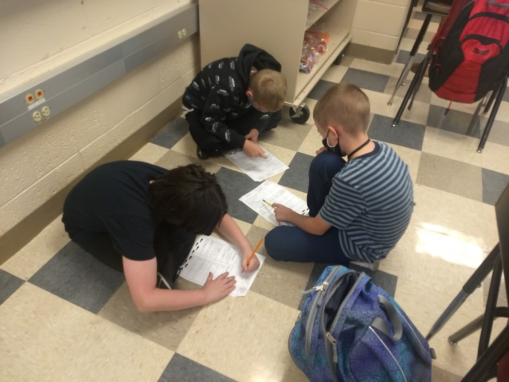 Students working in hallway